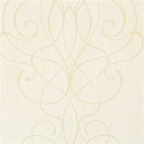 Beige Embroid Striped Damask Wallpaper R2457