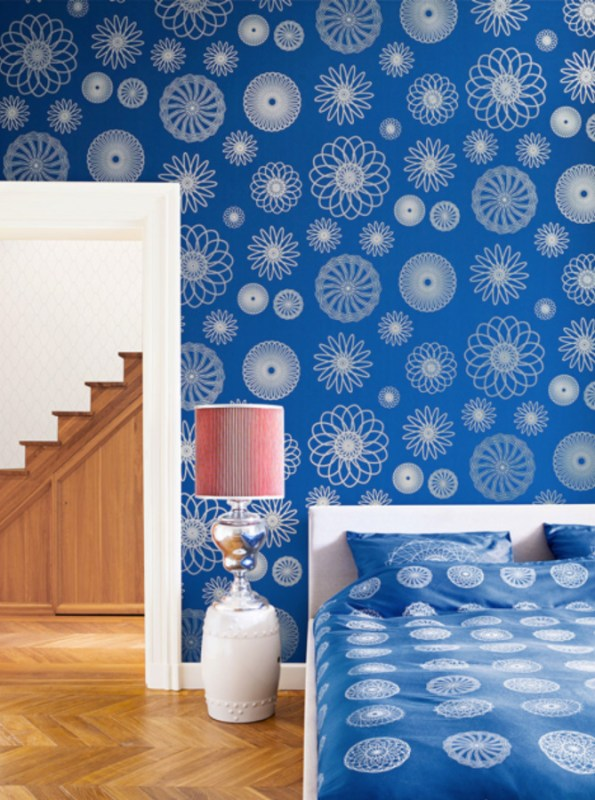 Cerulean Cluster Contemporary Wallpaper R2224