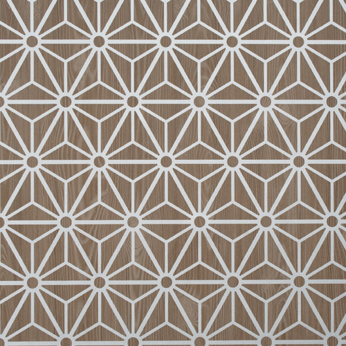 ... Brown Geometric Vinyl Bathroom Wallpaper R2243