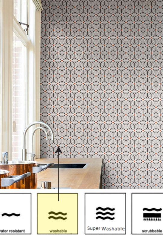 Orange Hexagonal Geometric Wallpaper by Walls Republic R2256