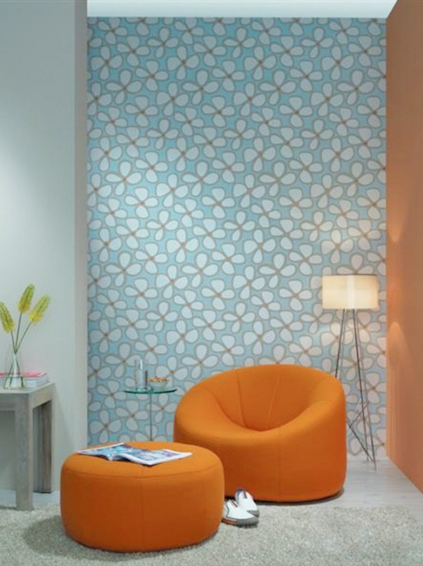 Blue Florid Floral Wallpaper by Walls Republic S43698