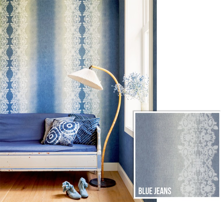 Blue Jeans Striped Wallpaper R2598 | Walls Republic