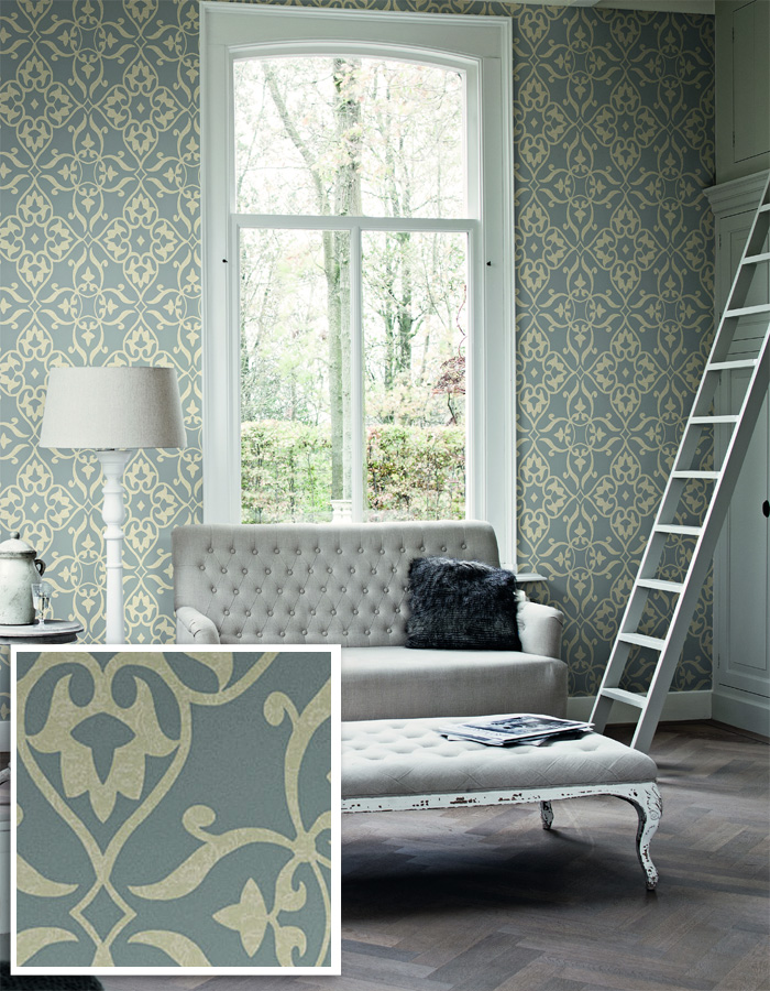 Layered Traditional Damask Wallpaper by Walls Republic | Living Room Design Trends