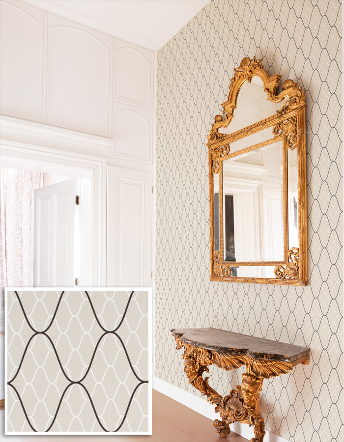 Classic Tan Trellis Wallpaper with Layered Pattern by Walls Republic | Foyer Design Trends