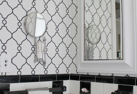 Walls Republic | Black & White Lattice Contemporary Wallpaper in a Bathroom R2548