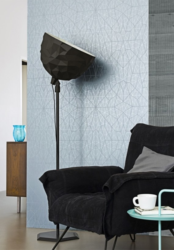 Structure Blue wallpaper with sleek and thin geometric linework