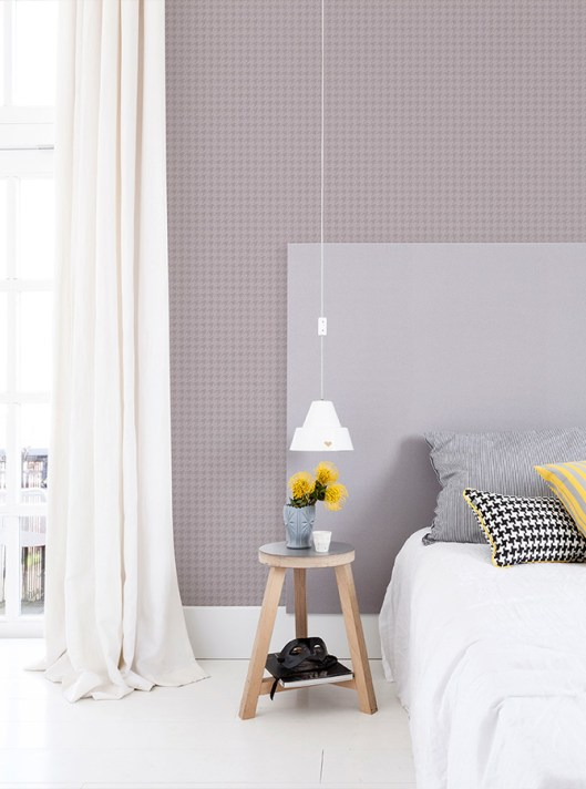 Warm Grey Puppytooth geometric wallpaper by Walls Republic