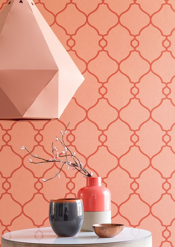 Coral lattice geometric wallpaper by Walls Republic