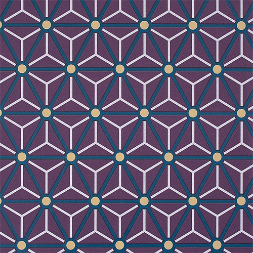 Byzantium Hexagonal in deep violet, indigo, yellow, and white.