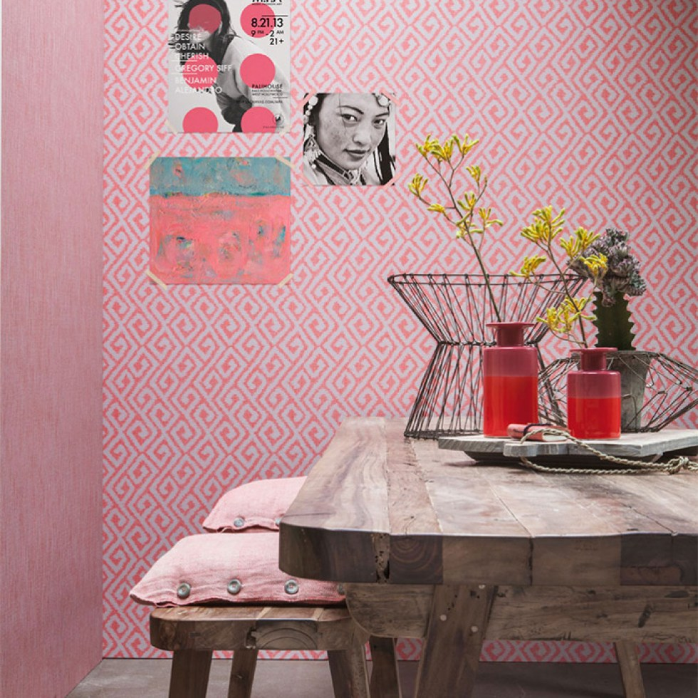 Coral bohemian wallpaper by Walls Republic