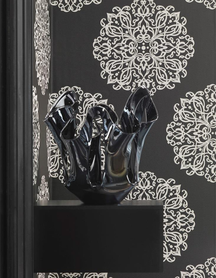 Black and white embellished medallion wallpaper | S43709 Walls Republic