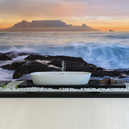 The ultimate bath time scenery by the ocean - Cape Town Waters Mural by Walls Republic