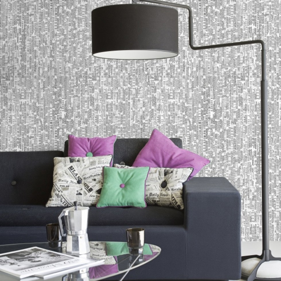 Patterns themselves can create the look and feel of textured walls. We love how this static print wallpaper creates a funky texturized atmosphere effect as a feature wall in this living space.