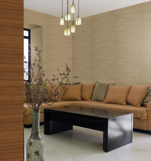 You can mix up buff beige and bronze grasscloth wallpaper for a brighter atmosphere but still using brown hues.