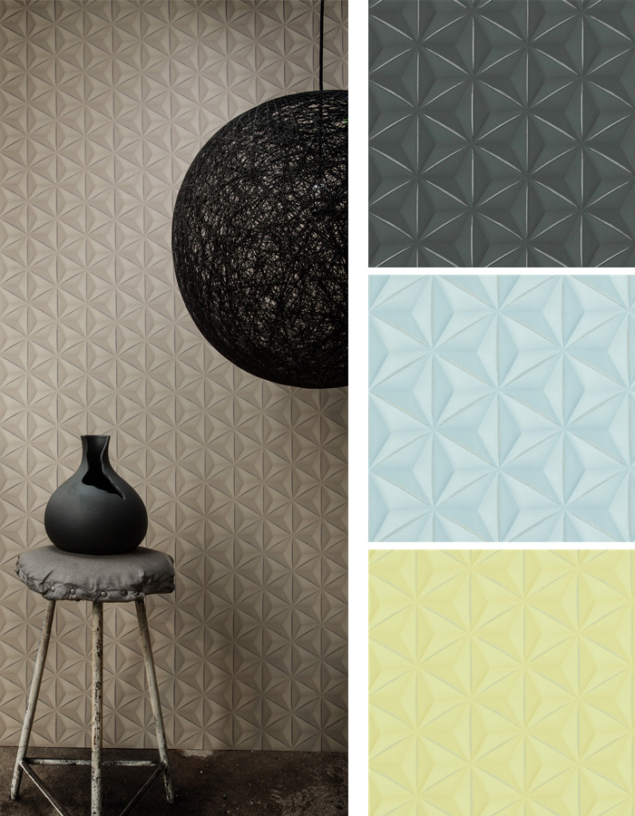 This geometric wallpaper is structured with a unique great tiling effect that is far from the usual. You can also alter the contrast of tonal values of highlight and shadows for even richer and stronger embossed results. | Walls Republic 2016 wallpaper trends