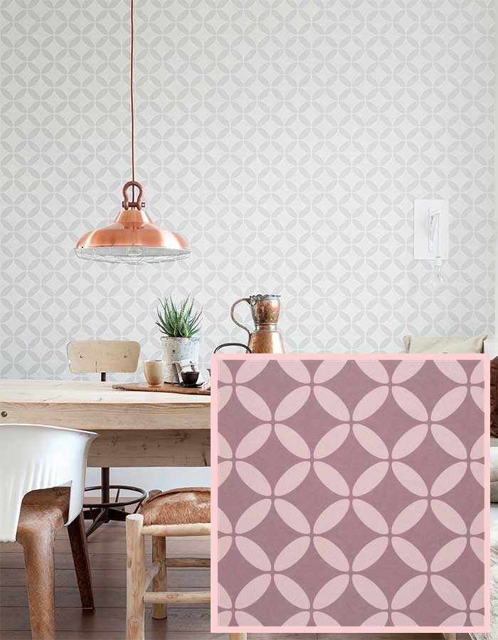Retro chic circular geometric wallpaper in rose quartz and a deep mauve | walls republic wallpaper
