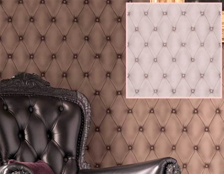 Tufted leather wallpaper in a delightful diamond pattern | walls republic pantone rose quart and serenity wallpaper