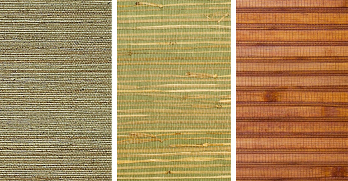 For example bamboo (far right) has more horizontal definition that small stitched sisal (left). | 2016 wallpaper trends Walls Republic