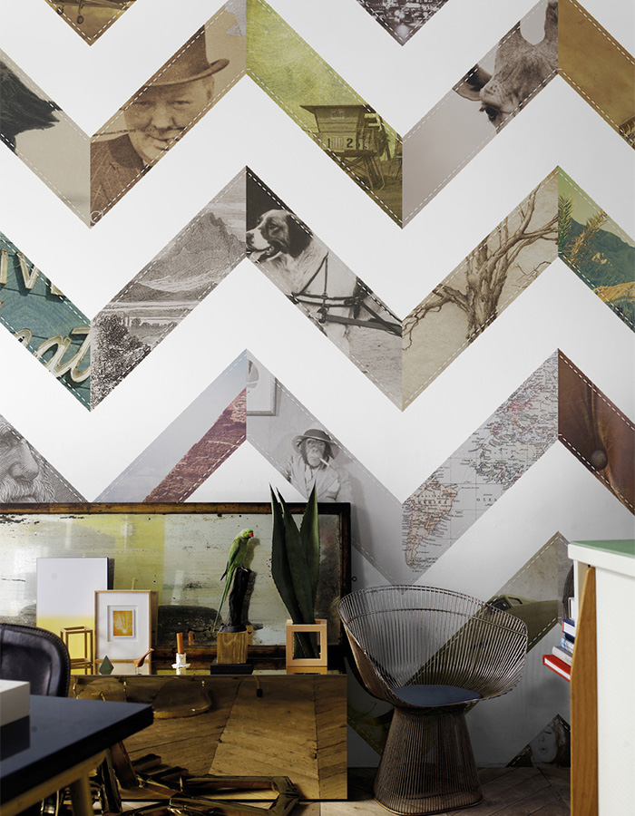 Make the jump from classic to contemporary with a large scale modern chevron that shows-off personalized imagery.