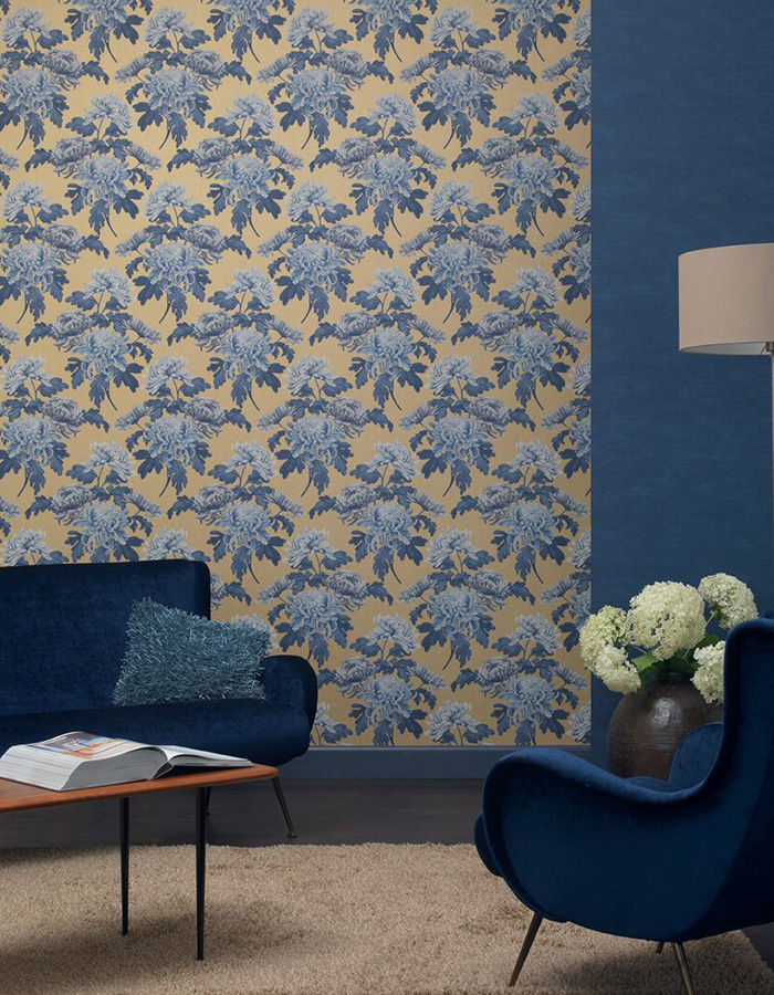 Royal Blue Vintage Blossoms Wallpaper R3032
