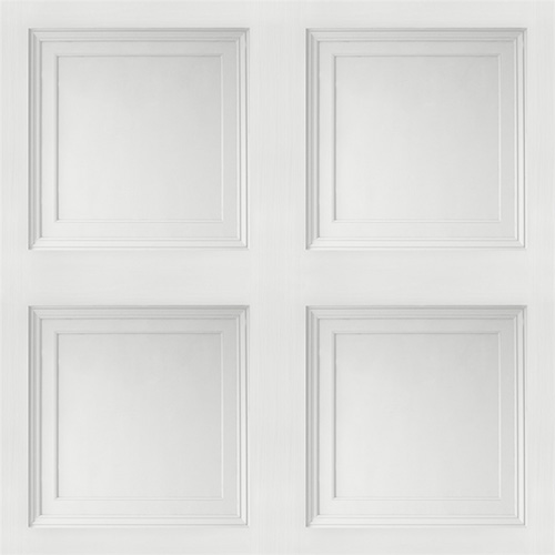 Contemporary 3D Faux Paneling Architectural White Wainscot Wallpaper R3695