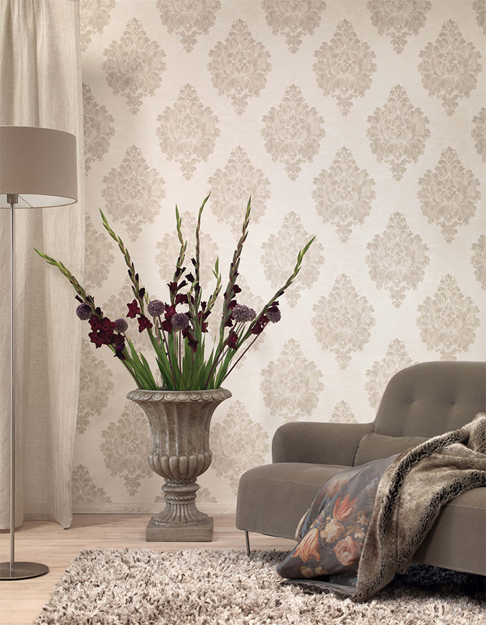 """Grey Weathered"" large scale damask patterned wallpaper R3011"