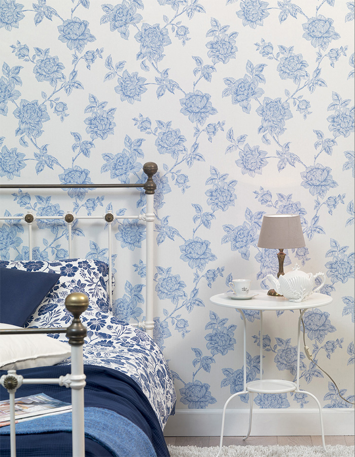 Duck-Egg Floral Tradition Wallpaper R3241