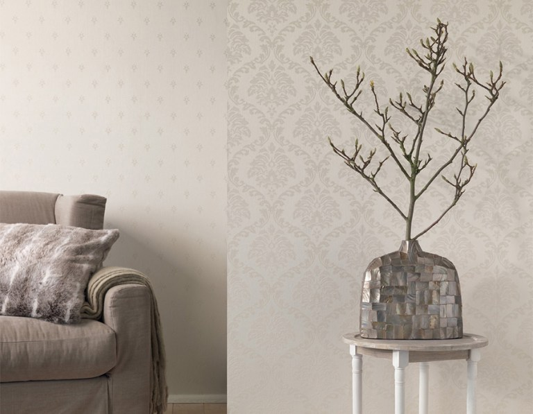 Ivory Linen Damask R3210 and Ivory Fleur R3228