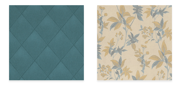 Modern Padded Textile Teal Wallpaper R4091 (left) and Floral Classic Blooming Dreams Blue and Yellow R4428 (right)
