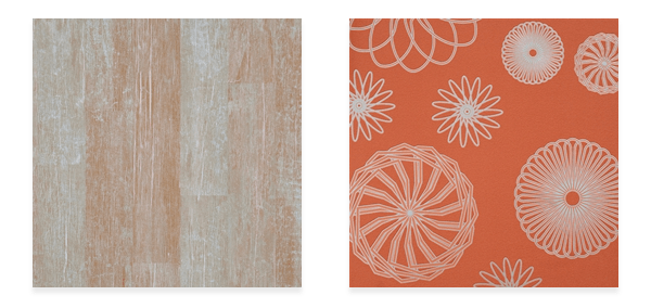Orange Cluster R2223 (left) and Shuffle Wood mahogany R1365 (right)