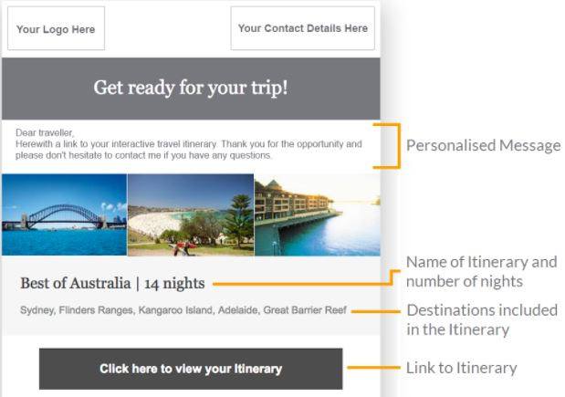 Email client itineraries directly from your Itinerary Builder \u2013 Wetu
