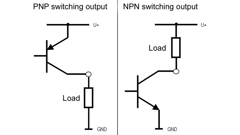Connection diagram of PNP and NPN transistor outputs for electronic