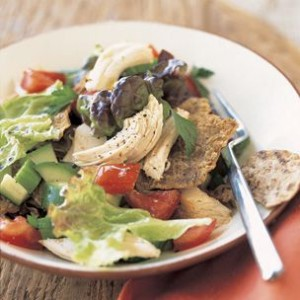 Turkey Fattoush Salad with Pita Croutons