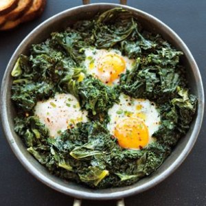 Spicy Simmered Eggs with Kale