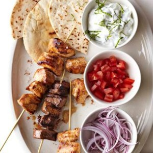 Quick Kabob Pita Sandwiches with Tzatziki