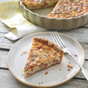 Ham and Cheese Quiche with Crème Fraîche and Chives