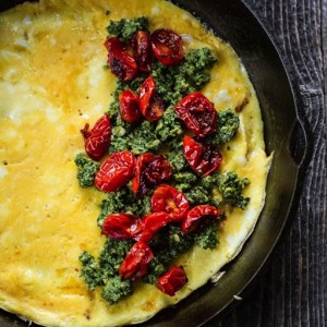 Pesto + Roasted Tomato Omelet