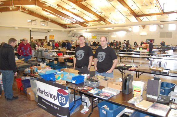 Paul and Andrew man the table at the WCRA Mid-Winter Hamfest