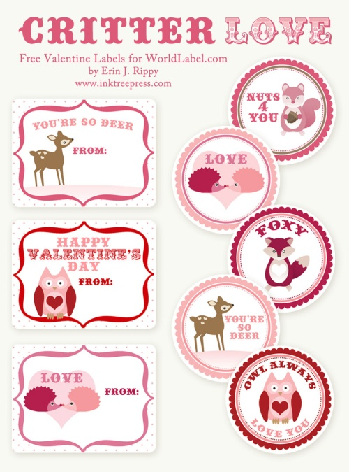Valentine\u0027s day labels  Stickers Critter Love by InkTreeExpress