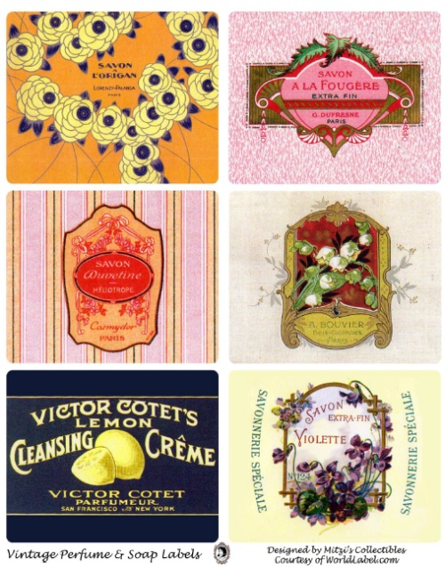 Perfume  Soap Labels to Print In a Vintage French Syle Worldlabel