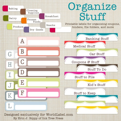 Organization labels your file folders, coupons, binders and more
