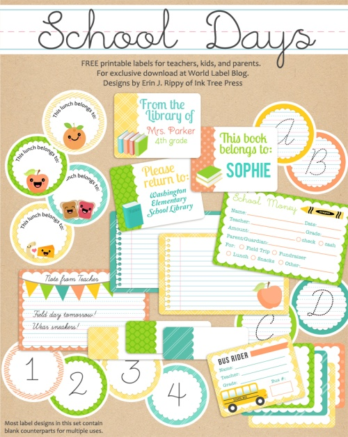 School Days Printables  Labels part 1 Worldlabel Blog - Free Printable Templates For Teachers