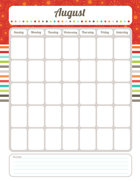 blank activity calendar