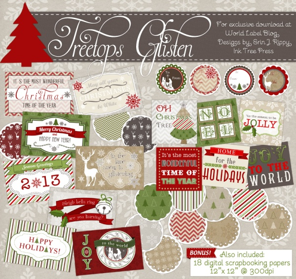 Treetop Glisten Free Christmas Labels  Digital Scrapbooking Papers - free christmas mailing labels template