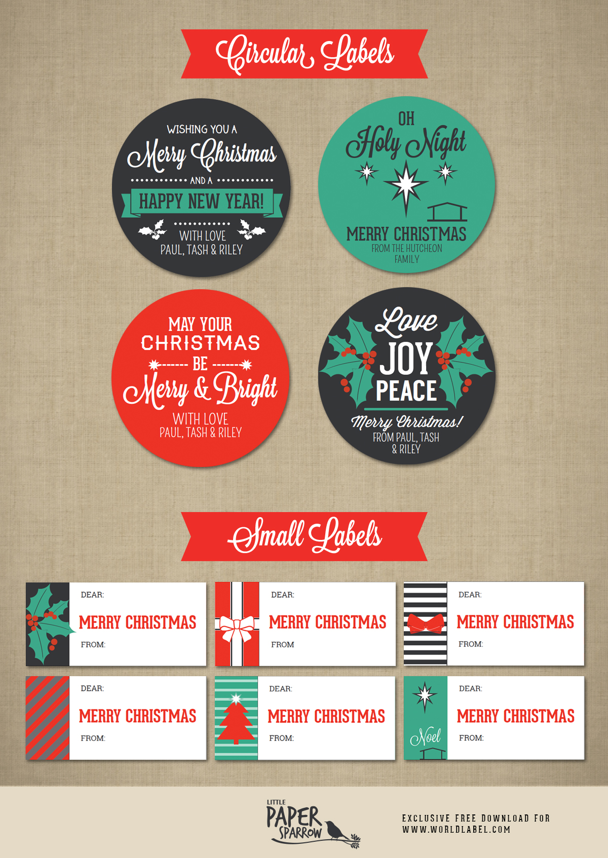 christmas address labels templates