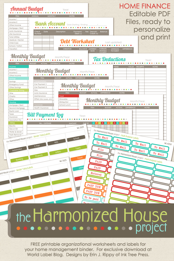 Home Finance Printables The Harmonized House Project Worldlabel Blog