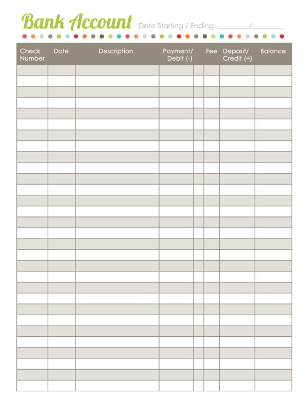 bank registers templates - Romeolandinez