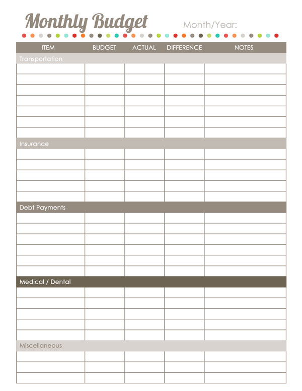 Home Finance Printables The Harmonized House Project Worldlabel Blog - printable expense sheet