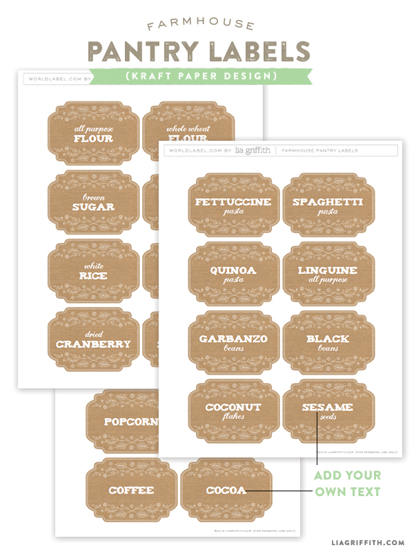 Farmhouse Pantry Labels for You to Edit and Print Worldlabel Blog