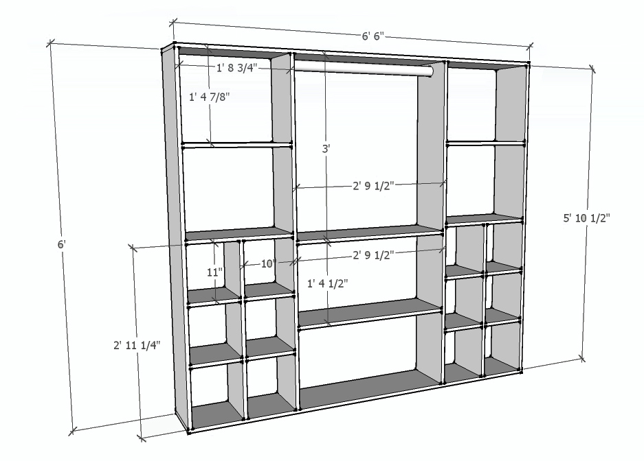Nice Closet Organizer Dimensional Drawings